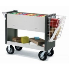 "Long Solid Metal Cart with Hook-on Tote Basket and 8"" Tires"