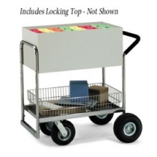 Medium Solid Metal Cart With Locking Top and Cushion Grip