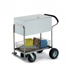 Deluxe Solid Medium Metal Cart with Locking Top and Cushioned Ergo Handle