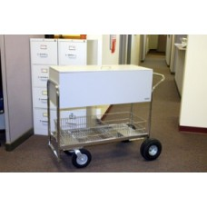 Long Solid Metal Literature/Mail Cart with Locking Top