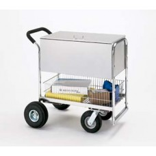 Medium Solid Metal Cart with Cushion Grip Handle and Locking Top.
