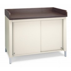 "48""W x 30""D Extra Deep Storage Table With Center Shelf, Sliding Doors and Dump Rails"