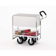 "Medium Ergo Solid Metal Literature/Mail Cart with 8"" Casters and Locking Top"