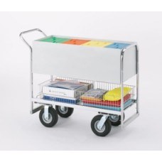 "Long Solid Metal Literature/Mail Cart with 8"" Tires"