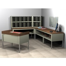 "Compact""L"" shaped Literature/Mailroom Furniture for your Literature/Mail Center with Literature/Mail dump/processing table. 56 Adjustable Pockets 12 1/2"" Deep."