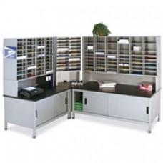 U-Shaped (108) Pocket Sort Station with Enclosed Lower Storage Shelf