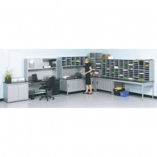 In-Line Supervisor Desk and L-Shape Mail Station with (150) Mail Slots