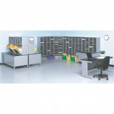 Back-To-Back and L-Shaped Mail Station with (280) Mail Slots and Supervisor Desk
