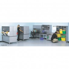 Dual Back-To-Back Mail Stations with (180) Slots, Tote/Supply Storage and Supervisor Desk